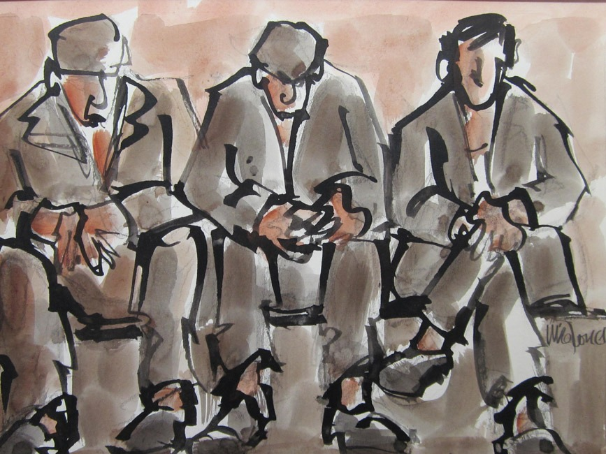 Mike Jones - Three men seated, Royal Welsh - Ink Wash - 9 x 12 inches