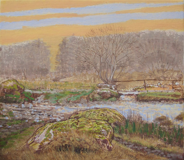 Maurice Sheppard - Mossy Stones and Bridge, Wallis Moor - Oil on Board - 8 x 8 inches