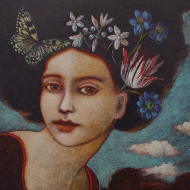 Nicola Slattery - Butterfly - Acrylic on Wood - 8 x 8 inches