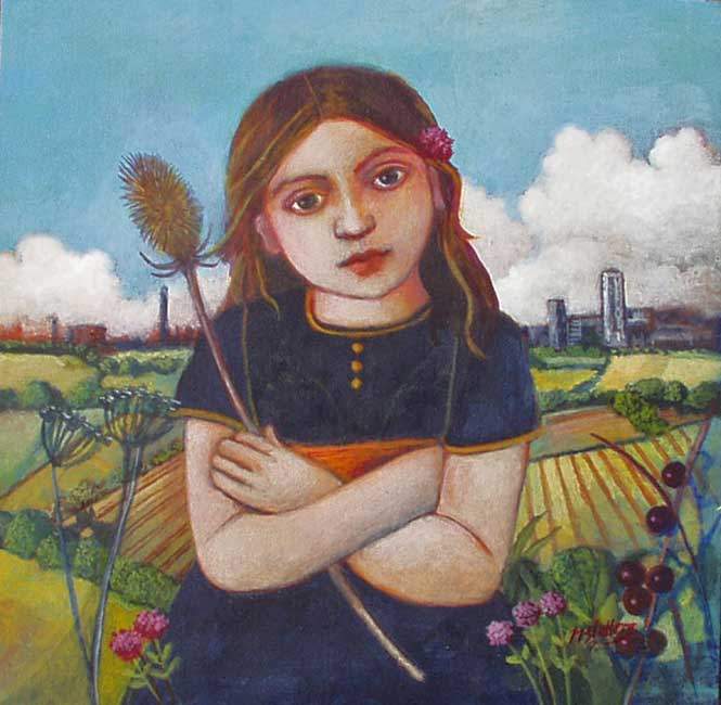 Nicola Slattery - Country Girl - Acrylic on Wood - 8 x 8 inches