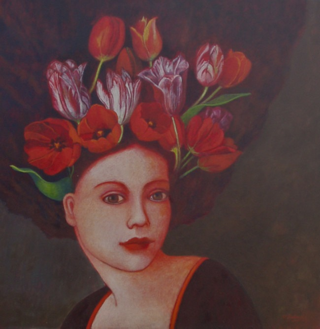 Nicola Slattery - Crown of Tulips - Acrylic on Wood - 16 x 16 inches
