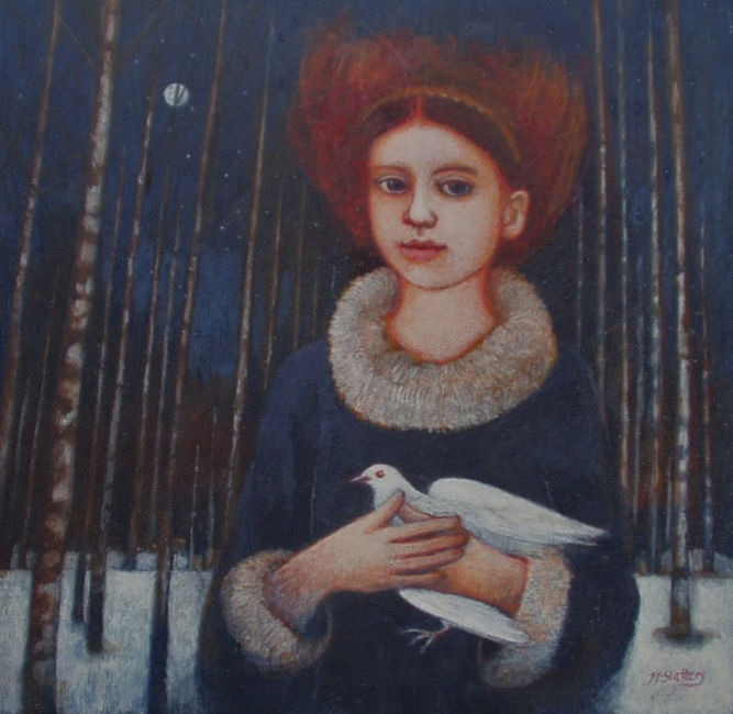 Nicola Slattery - Night Dove - Acrylic on Wood - 8 x 8 inches