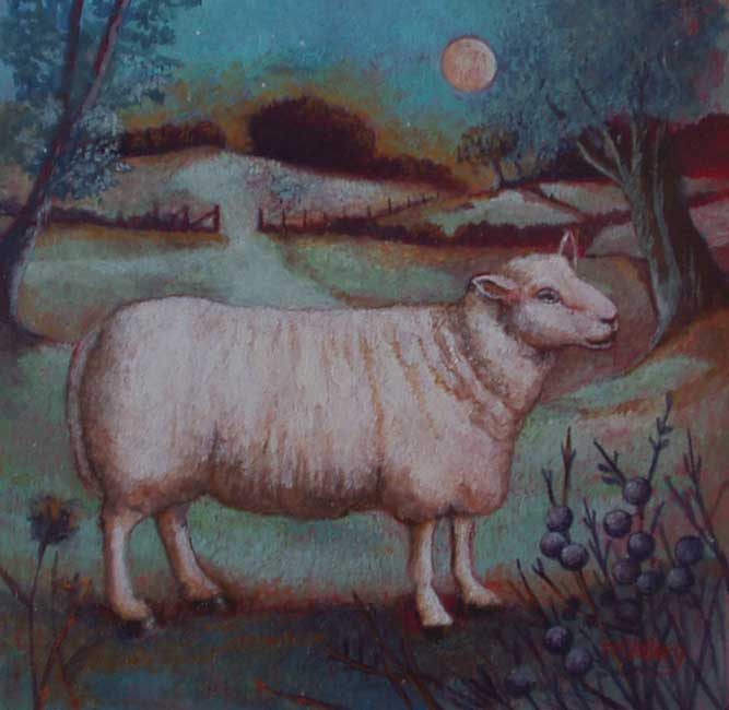 Nicola Slattery - Sheep at Dusk - Acrylic on Wood - 8 x 8 inches