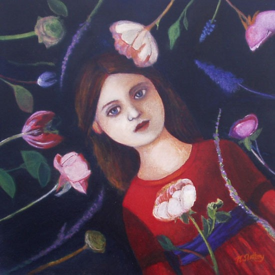 Nicola Slattery - Night Flowers - Acrylic on Wood - 8 x 8 inches