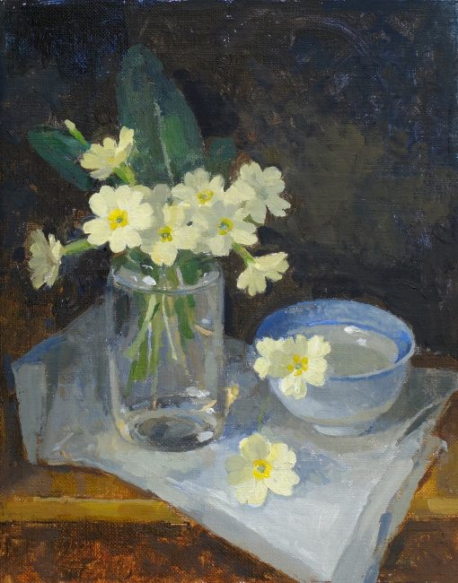 Pamela Kay - Primroses on a Shelf - Oil on Board - 10 x 8 inches