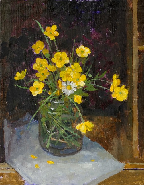 Pamela Kay - Buttercups in a Jam Jar - Oil on Board - 10 x 8 inches