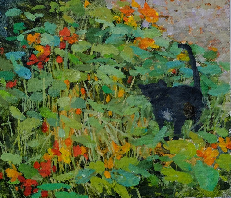 Pamela Kay - Cat in the Nasturtiums - Oil on Board - 8 x 7 inches