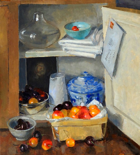 Pamela Kay - Cupboard Still Life with Cherries - Oil on Board - 14 x 13 inches