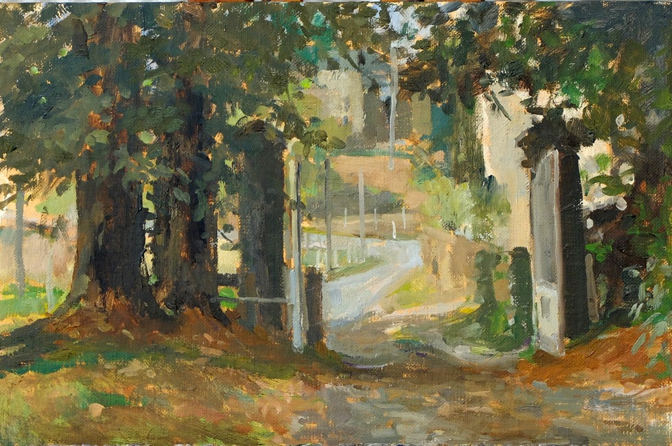 Pamela Kay - Entrance to the Chateau - Oil on Board - 8 x 12 inches