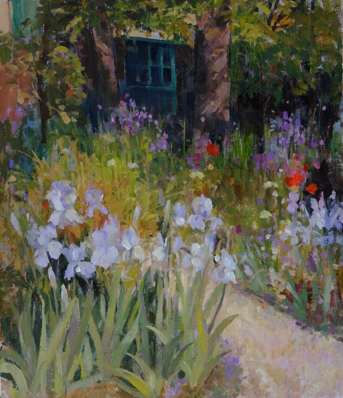 Pamela Kay - Irises in the Garden Giverney - Oil on Board - 14 x 12 inches