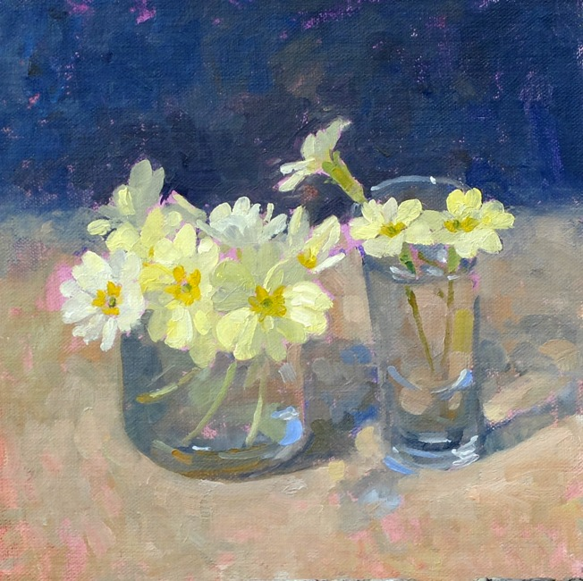 Pamela Kay - Primroses in Two Glasses - Oil on Board - 7 x 7 inches