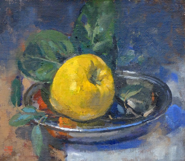 Pamela Kay - Quince - Oil on Board - 7 x 8 inches