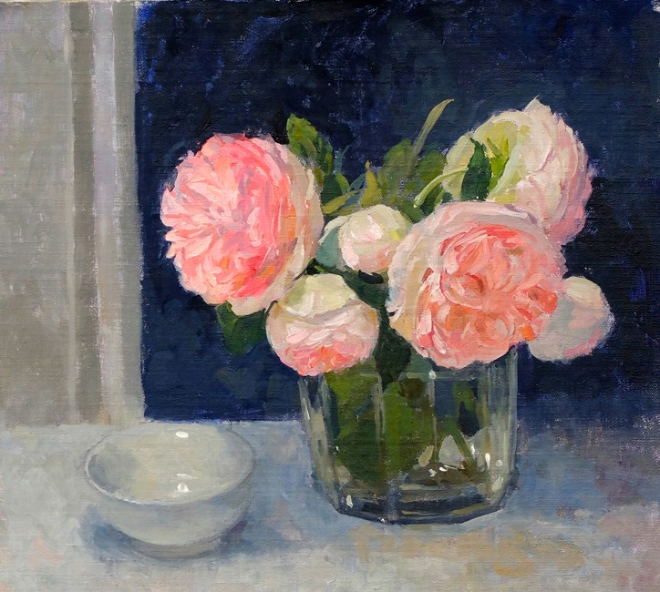 Pamela Kay - Rose Pierre de Ronsard and a Bowl - Oil on Board - 10 x 11 inches
