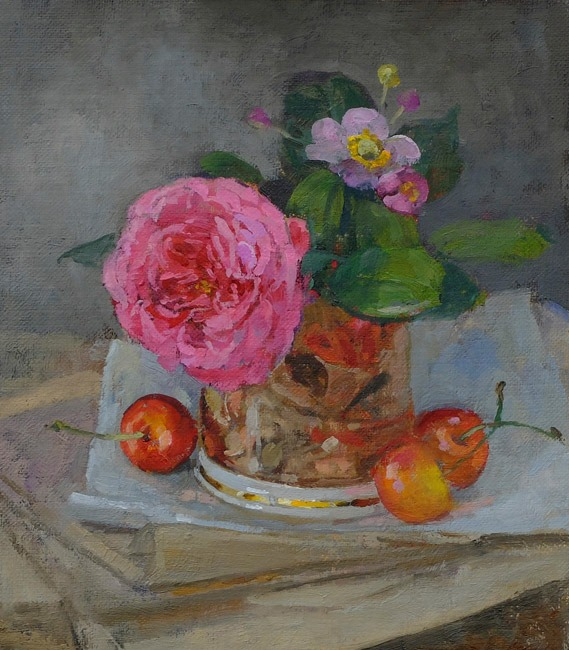 Pamela Kay - Rose and Cherries - Oil on Board - 8 x 7 inches