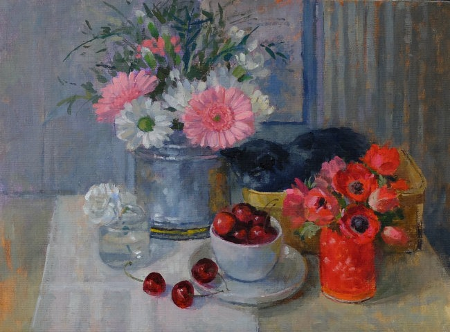 Pamela Kay - Ruby in the Still Life - Oil on Canvas - 12 x 16 inches