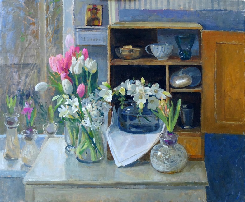 Pamela Kay - Spring Flowers and a Small Cupboard - Oil on Canvas - 20 x 24 inches