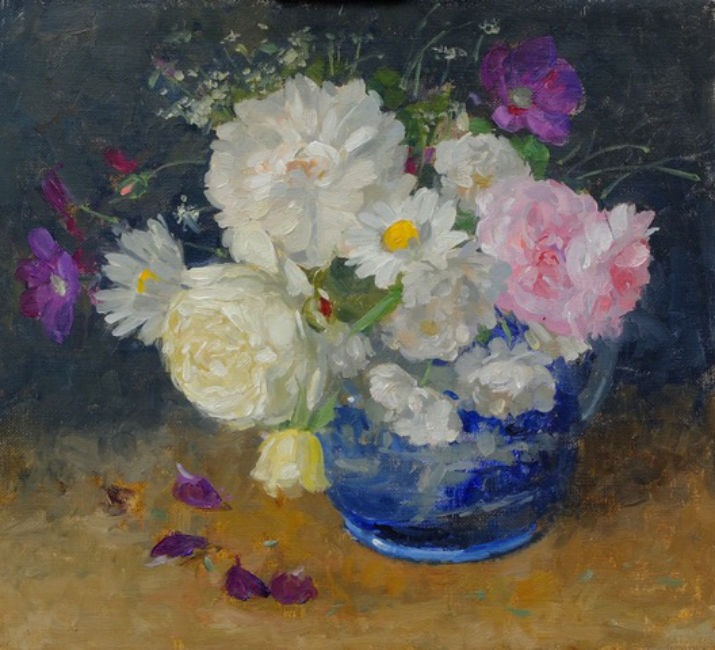 Pamela Kay - Summer Flowers in a Spode Jug - Oil on Board - 10 x 11 inches