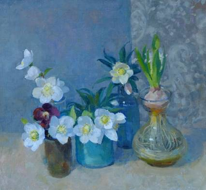 Pamela Kay - Table of Hellebores and a Hyacinth - Oil on Board - 14 x 13 inches
