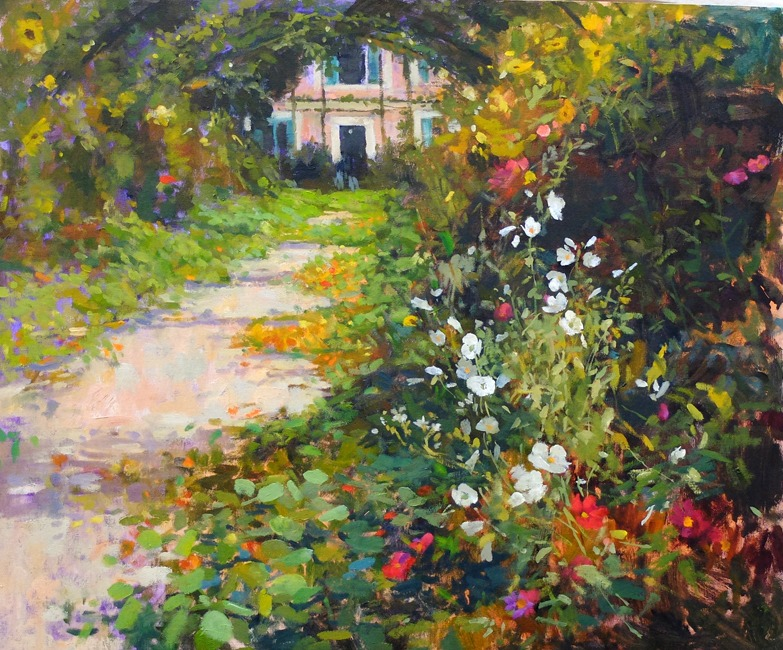 Pamela Kay - The Grand Allee, Giverny - Oil on Board - 20 x 24 inches