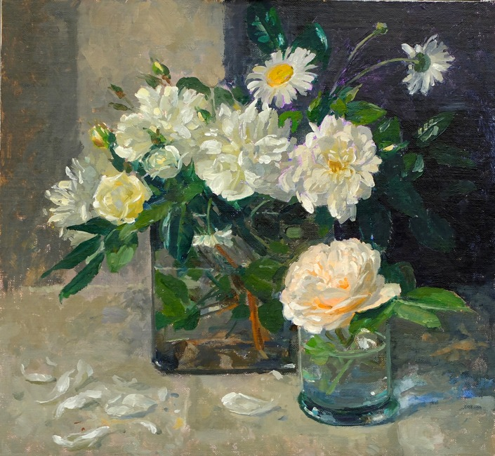 Pamela Kay - White Roses and Daisies - Oil on Board - 13 x 14 inches