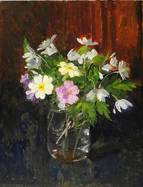 Pamela Kay - Woodland Flowers - Oil on Board - 10 x 8 inches
