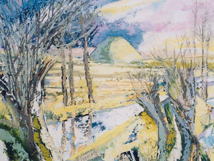 David Imms - Winter Landscape Silbury Hill - Oil on Canvas - 20 x 24 inches