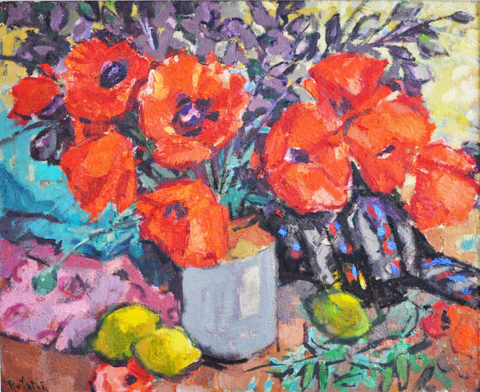 Anthony Yates - Poppies in a stoneware jug - Oil on Canvas - 23 x 28 inches