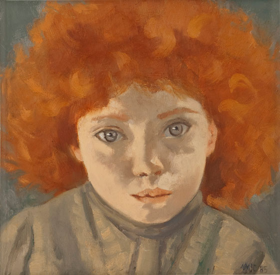 Ursula McCannell - Portrait of a Girl c1985 - Oil on Canvas - 11.5 x 11.5 inches