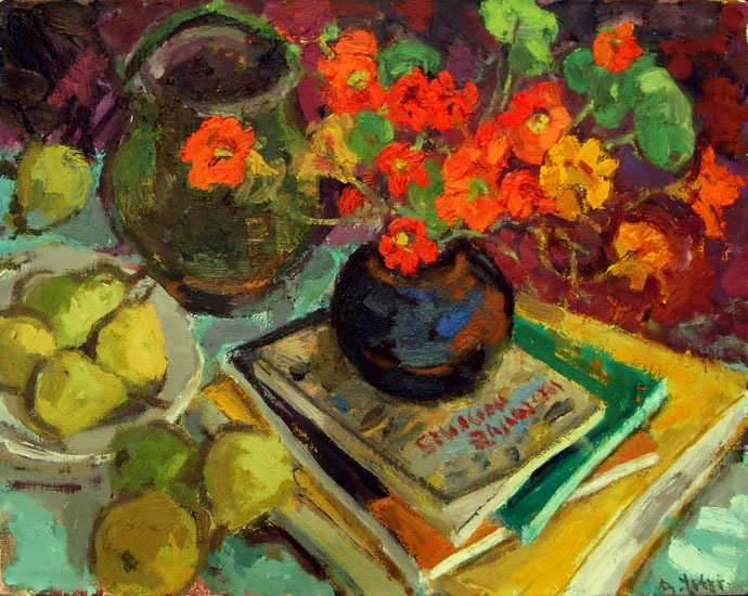 Anthony Yates - Pot of Nasturtiums - Oil on Canvas - 15 x 19 inches