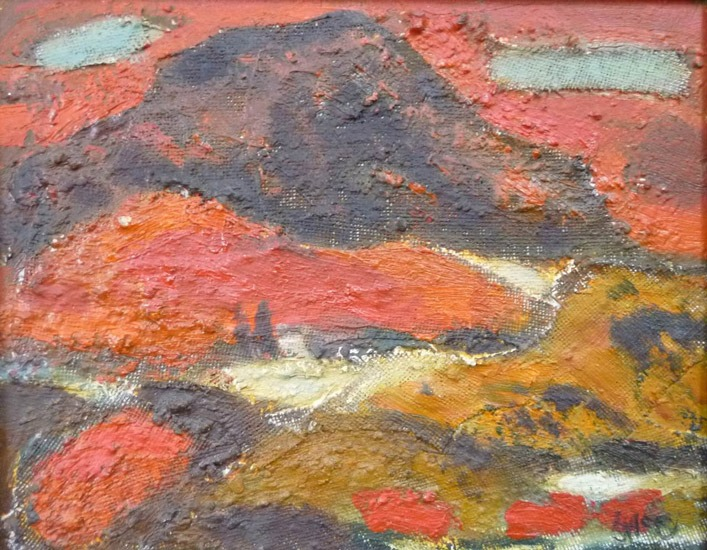 Ursula McCannell - Red Landscape 1978 - Oil on Canvas - 8 x 10 inches