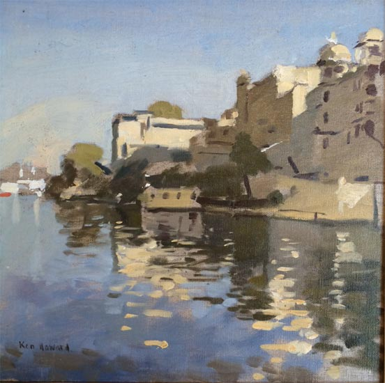 Ken Howard - Reflection Effect Fateh Prakesh Palace Udaipur - Oil on Canvas - 11.5 x 11.5 inches