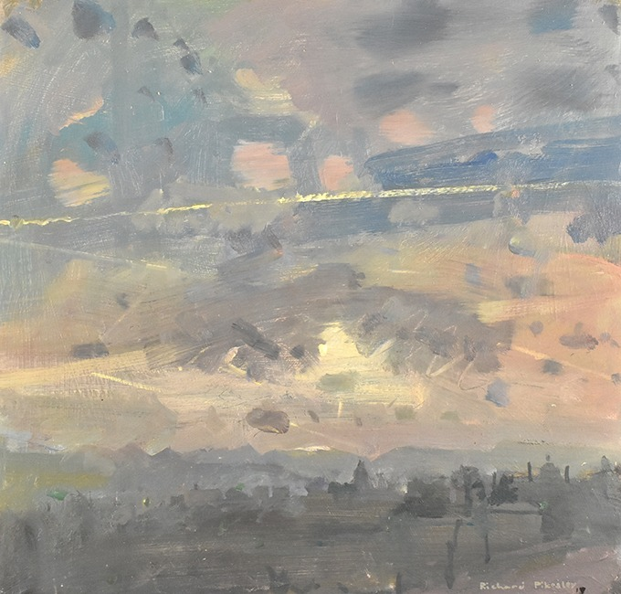 Richard Pikesley - Alhambra, Evening Sky, Granada - Oil on Board - 12 x 12 inches