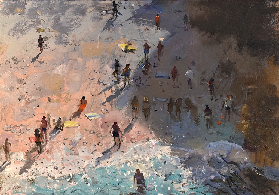 Richard Pikesley - Beach Zig-Zag, Polignano - Oil on Canvas - 14 x 20 inches
