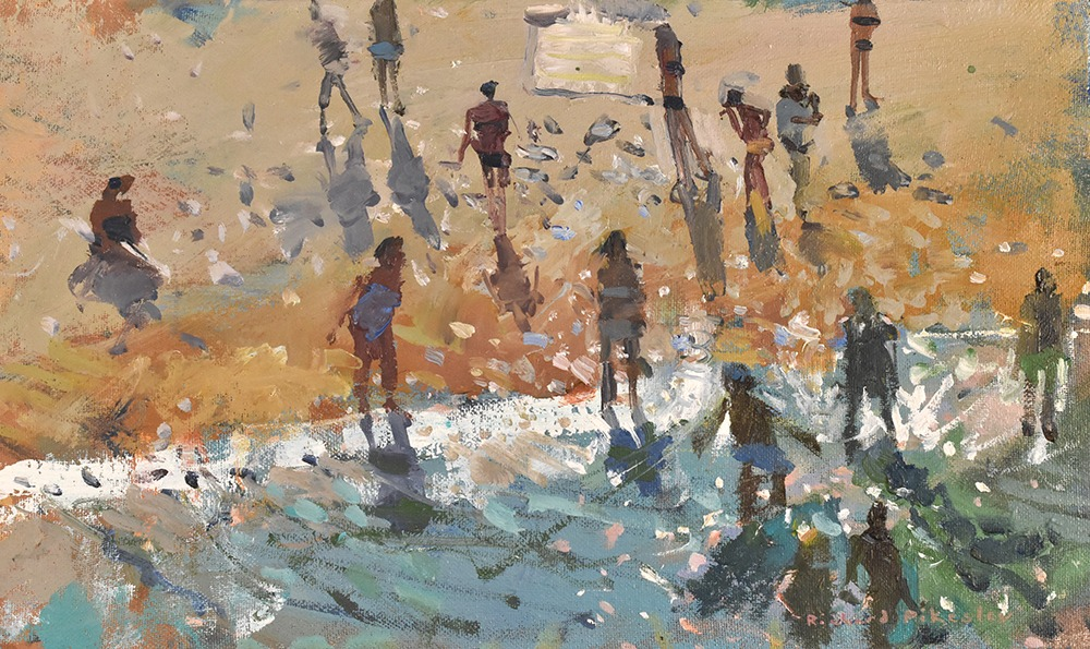 Richard Pikesley - Beach From Above, Polignano a Mare - Oil on Board - 7 x 12 inches