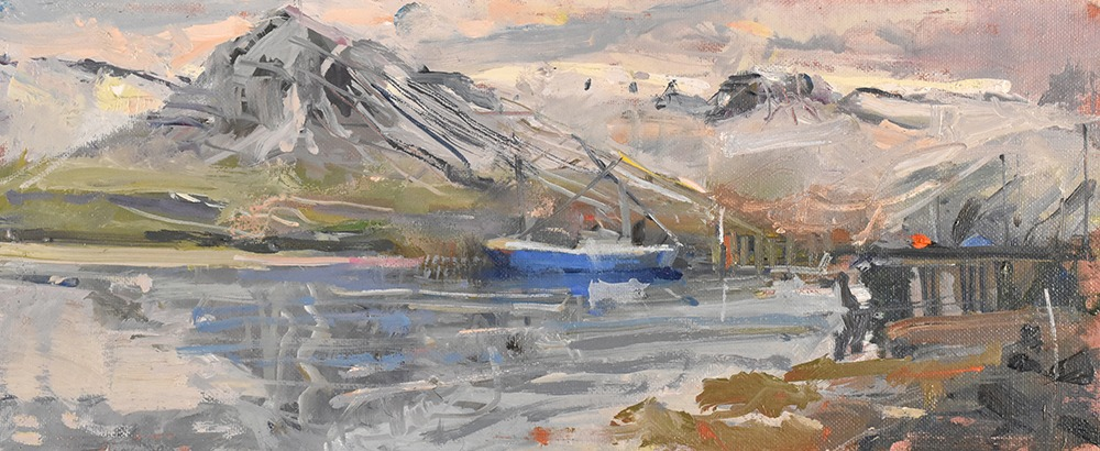Richard Pikesley - Blue Boat and Mountain, Siglofjordur, Iceland - Oil on Board - 5 x 12 inches