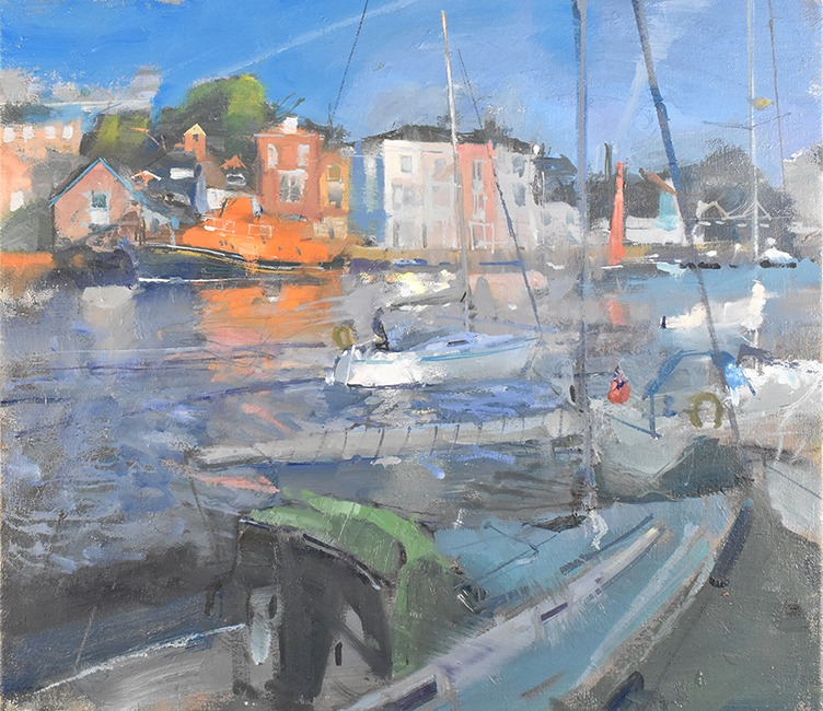 Richard Pikesley - End of The Day, Weymouth Harbour - Oil on Canvas - 18 x 20 inches