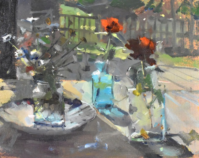Richard Pikesley - Flowers and Studio Window - Oil on Board - 8 x 10 inches