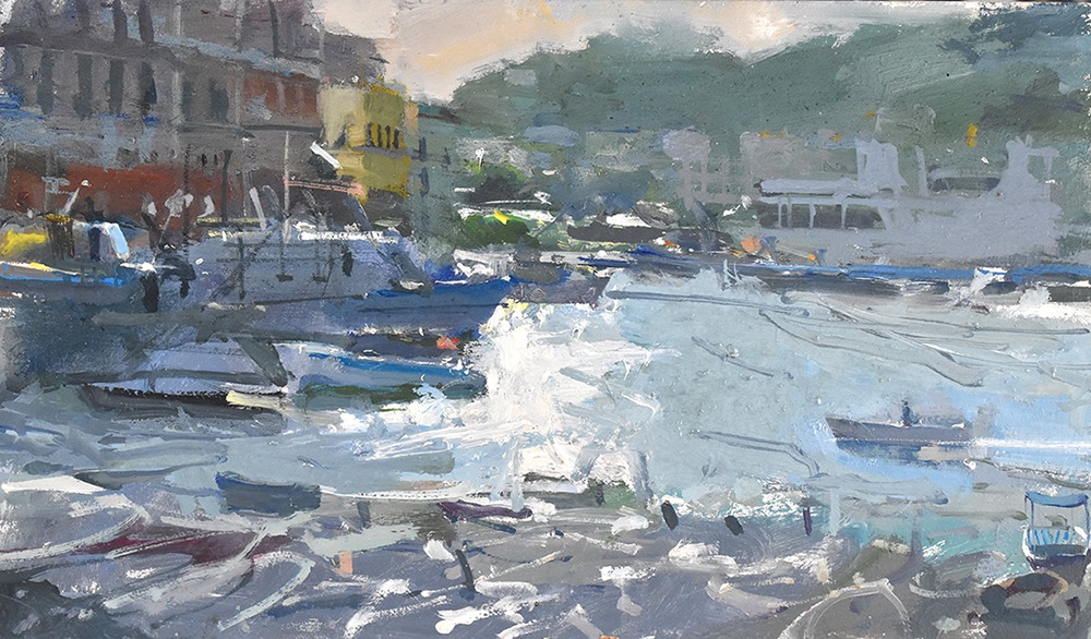 Richard Pikesley - Harbour Traffic, Ponza - Oil on Board - 7 x 12 inches