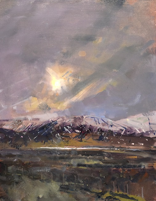 Richard Pikesley - Iceland, The Journey North - Oil on Board - 20 x 16 inches