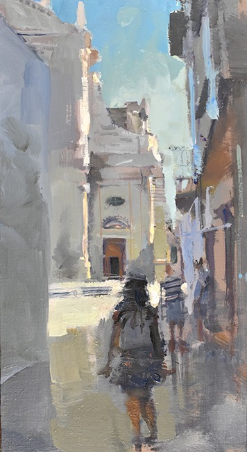 Richard Pikesley - In Locorotundo - Oil on Board - 15 x 8 inches