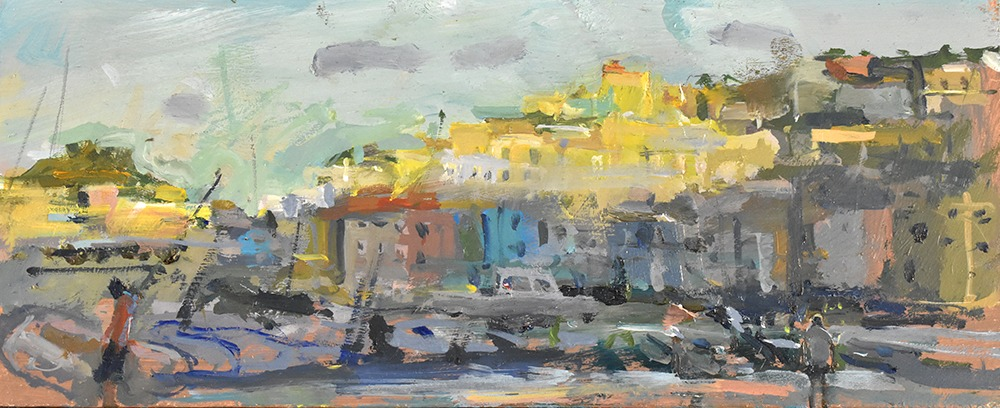 Richard Pikesley - Late in The Day, Isola di Ponza - Oil on Board - 5 x 12 inches