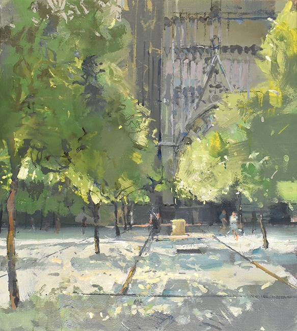 Richard Pikesley - Patio de los Narajos, Seville - Oil on Canvas - 20 x 18 inches