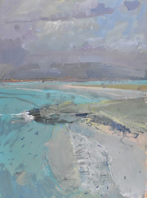 Richard Pikesley - Rising Tide, Luskentyre (Isle of Harris) - Oil on Board - 16 x 12 inches