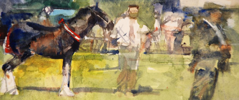 Richard Pikesley - Shire foal, Melplash - Watercolour - 3 x 6.5 inches