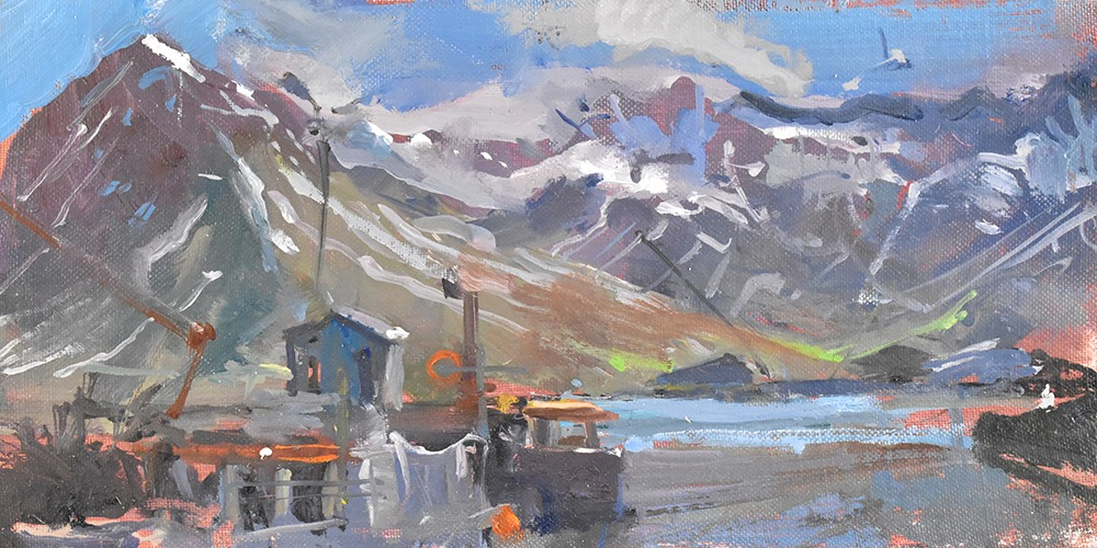 Richard Pikesley - Siglofjordur, Icelandic Summer - Oil on Board - 5 x 10 inches
