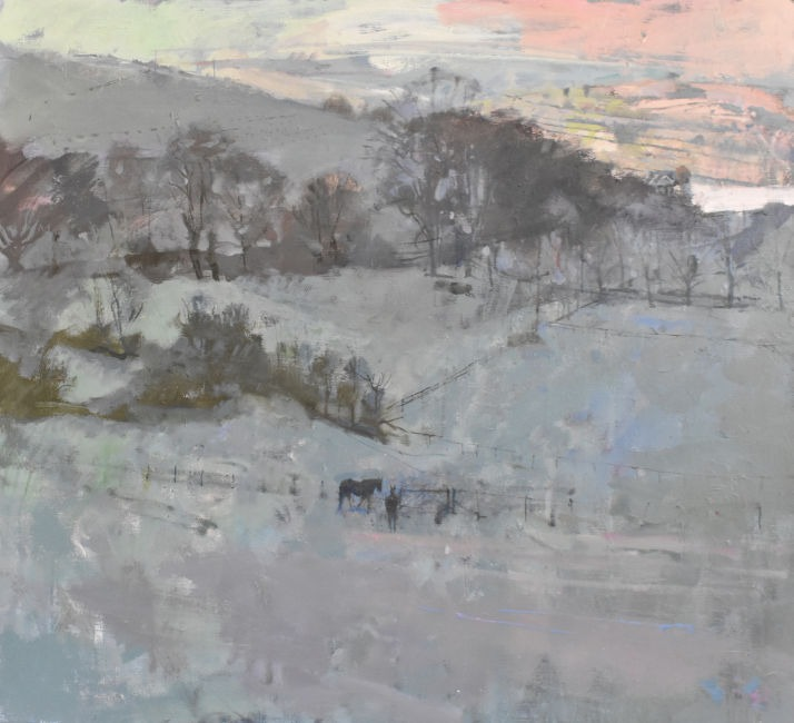Richard Pikesley - Snow from the Long Barrow, Dorset - Oil on Canvas - 34 x 38 inches