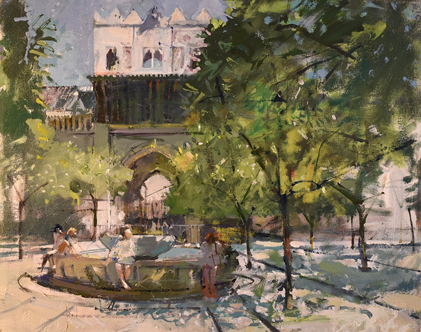 Richard Pikesley - Under the Orange Trees, Seville - Oil on Canvas - 16 x 20 inches