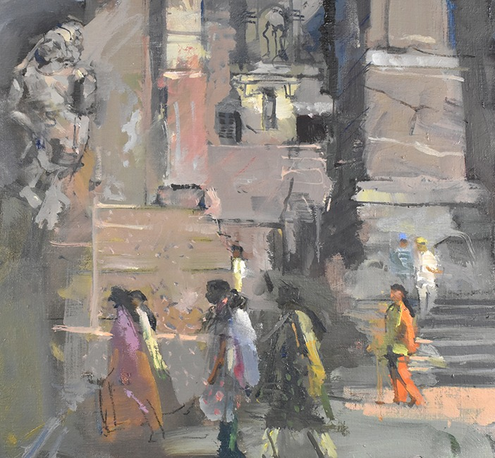 Richard Pikesley - Visiting Ellora - Oil on Board - 15 x 16 inches