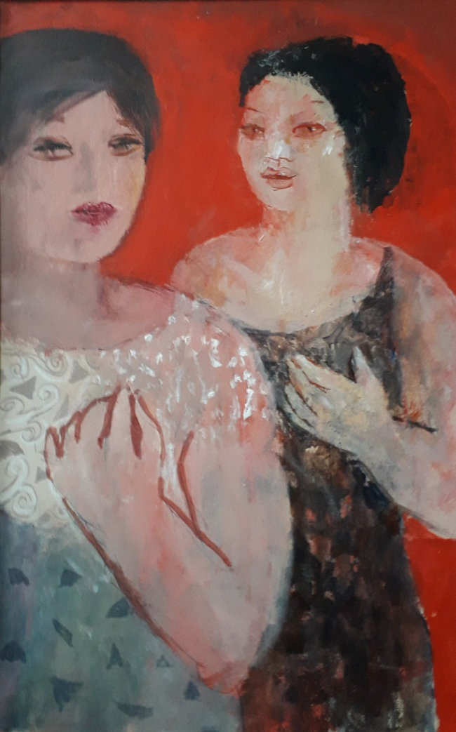 Richard Sorrell - Two Women in a Red Room - Oil on Board - 19 x 12.5 inches