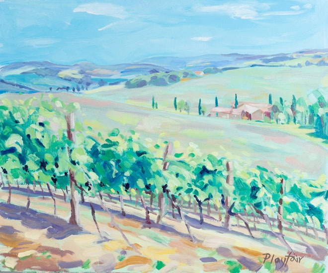 Annabel Playfair - Vineyard, Le Gers, France - Oil on Canvas - 19.5 x 23.5 inches